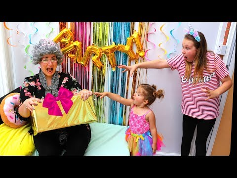 Greedy Granny Surprise Birthday PARTY!! Cute & Funny Kids Pretend Play With Toys