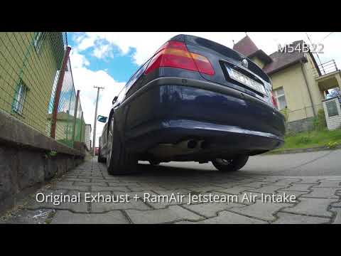 BMW E46 320i M54 B22 Exhaust sounds - Original, K&N Filter, RamAir Jetstream, Ulter Exhaust