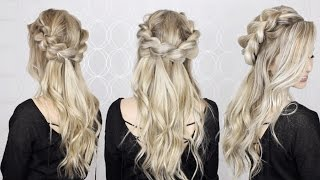 How to: Half-up Half-down pull through braid, and waves tutorial | EASY braid!