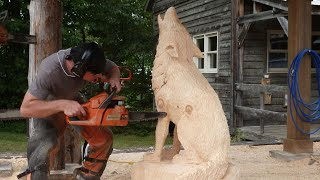 Chainsaw Carving A Life Size Wolf!!!