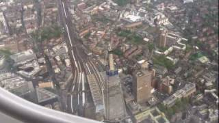 preview picture of video 'London City Airport landing over central London inc Shard of Glass'