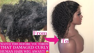 How To Revive Matted Human Hair Curly Wig|Detailed Tutorial