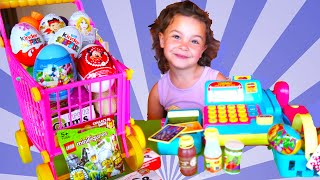 Disney Surprise Toys Shop with Cash Register, Kinder Surprise Eggs,  Mickey and Minnie Mouse