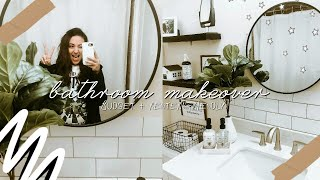 DIY Small Bathroom Makeover! Renter + Budget Friendly! Re-decorate With Me 2020!