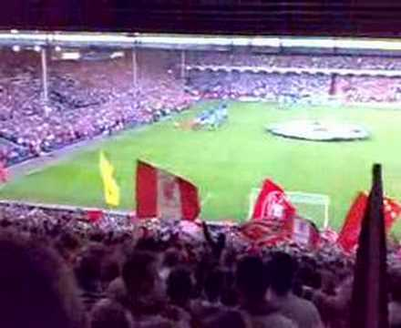 The Kop: Liverpool v Chelsea CL Semi just before kick off