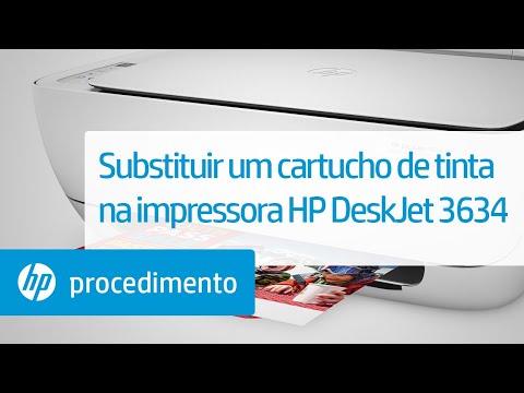 Substituir um cartucho de tinta na impressora HP DeskJet 3634