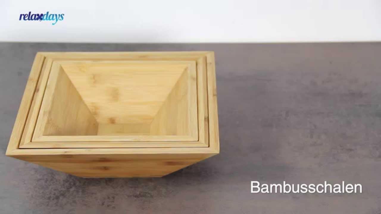 Bambusschalen Quadratisch Im Set 3 Grossen In Einander Stapelbar