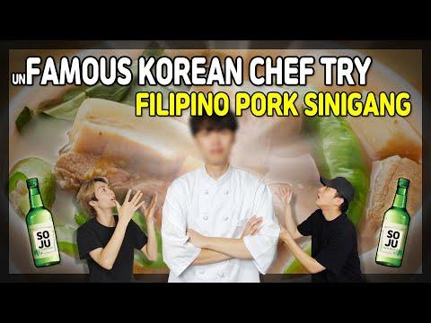 KOREAN CHEF React to Filipino Food   Pork Sinigang   Mukbang