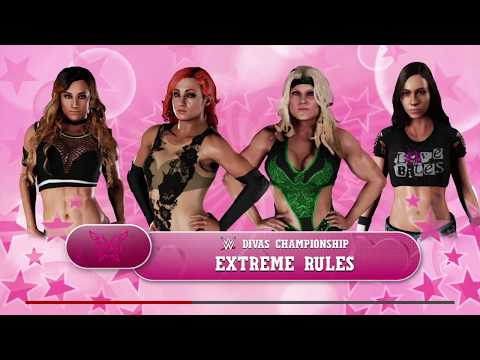 WWE 2K18 AJ Lee VS Beth Phoenix,Carmella,Becky Lynch Fatal 4-Way Extreme Rules WWE Divas Title