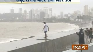 Mumbai Rains: People flock to Marine Drive despite high tide warning