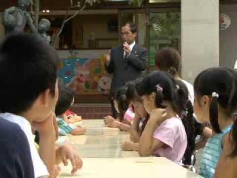 【京都市公式】永観堂幼稚園の夏のお泊り会に門川市長が出席(平成20年8月4日)
