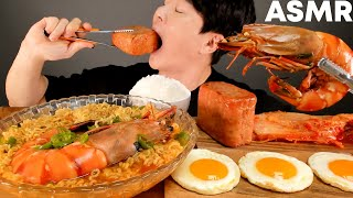 ASMR MUKBANG | KING TIGER SHRIMP RAMEN SPAM EGG RICE KIMCHI KOREAN HOME FOOD EATING SOUND 먹방