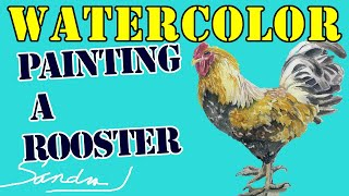 Learn to paint a rooster in watercolor here!