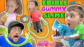 EDIBLE GUMMY SLIME JUMP ROPE w  SHARK BOARD GAME FAMILY NIGHT FUNnel Vision Vlog