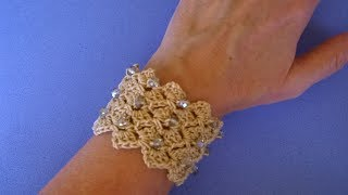 Bracciale Con Perle Ad Uncinetto -Crochet Bracelet Pearl - Brazalete  Perlas Crochet Pulsera Crochet