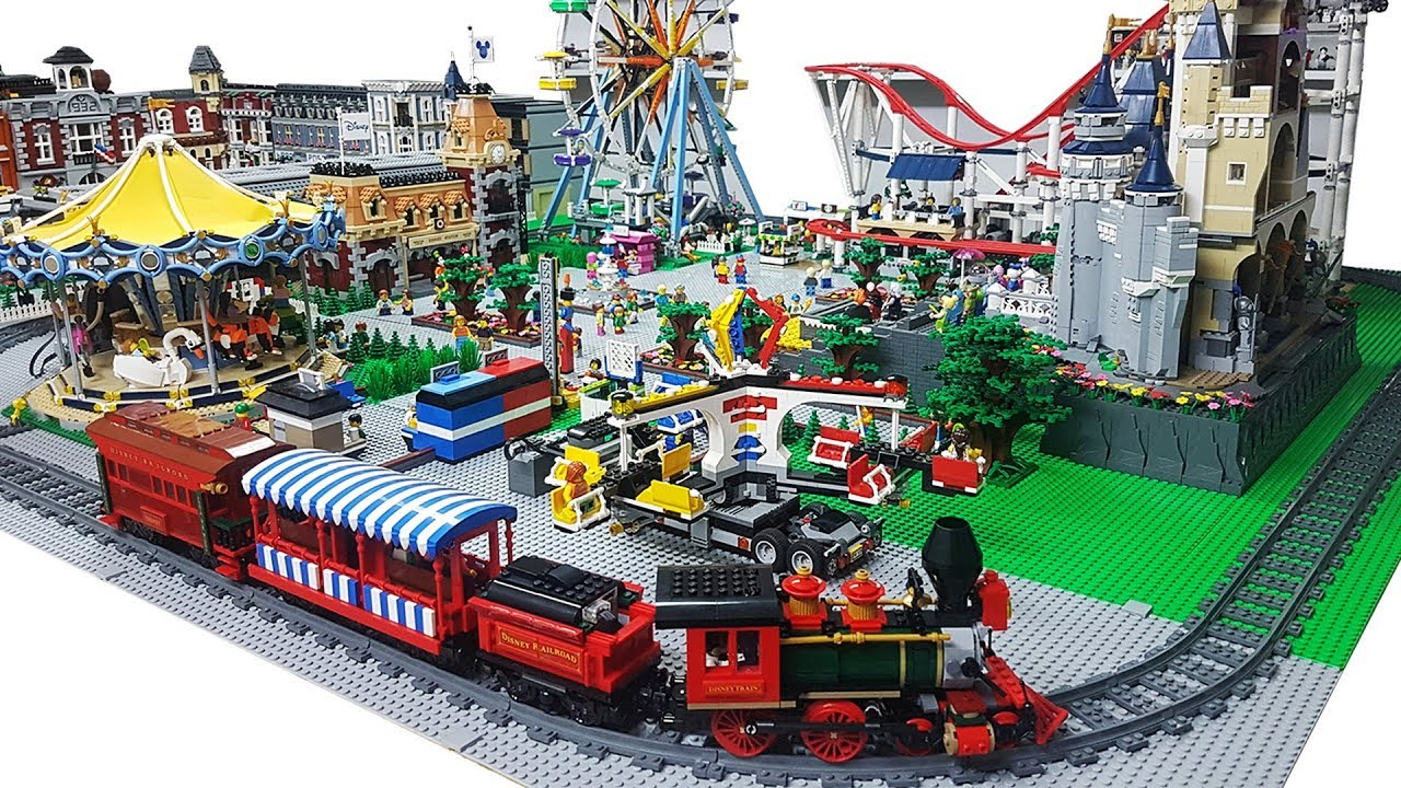 Placing LEGO Disney Train & Station Set in the Amusement Park