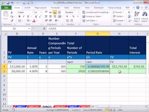 Video Excel 2010 Business Math 82: Calculating Interest & Future Value For Bank Daily Interest Accounts