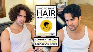 Mens  Wavy Long To Short Hair Transformation |  Hairstyle With Avenue Man Hair Products