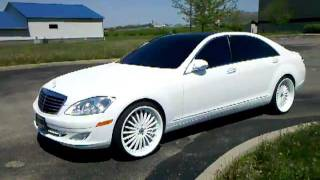 "Flat White Pearl 2007 Mercedes Benz S550 with 22"" Asanti"