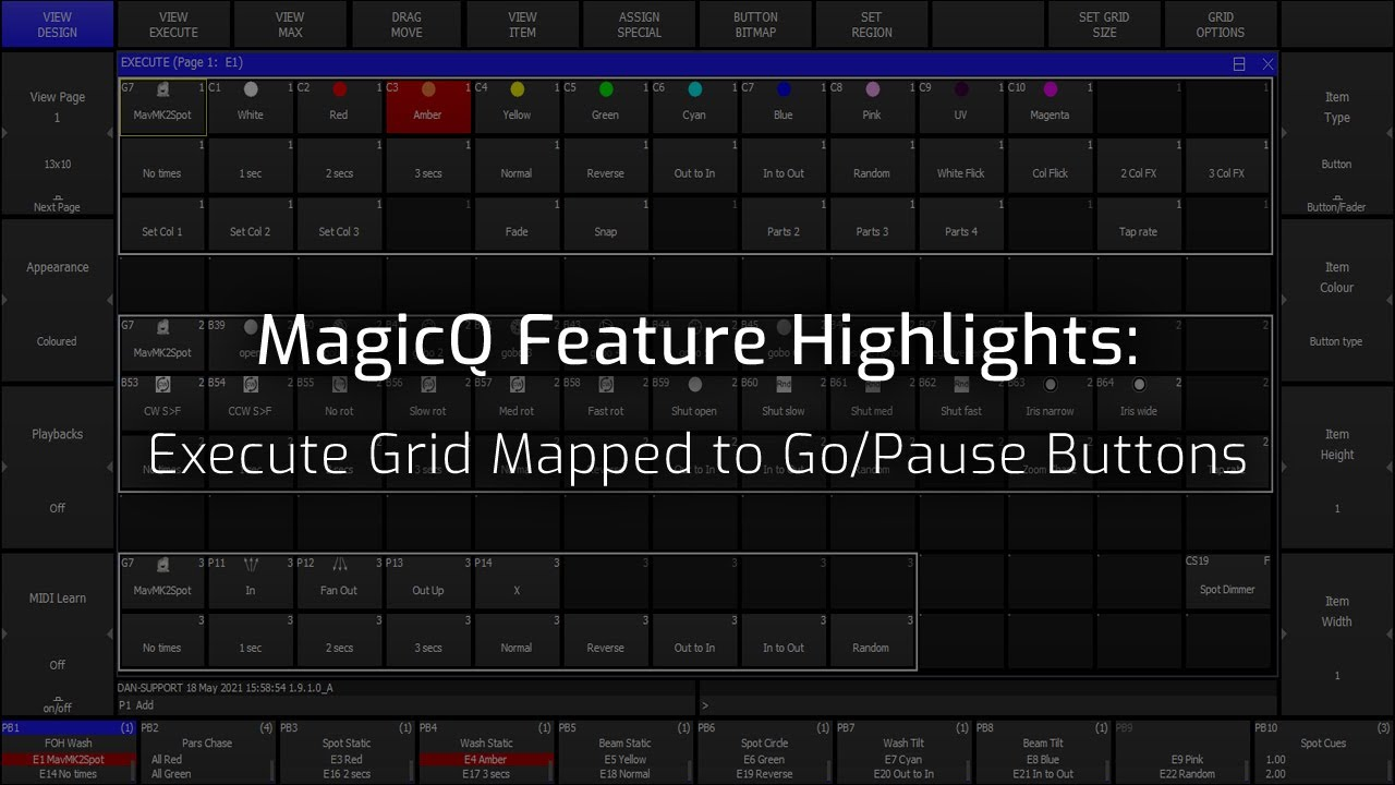 Execute Grid mapped to Go/Pause buttons