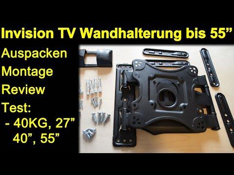 Invision Wandhalterung bis 55 Zoll HDTV-E - Auspacken Montage Test 40 KG, 27