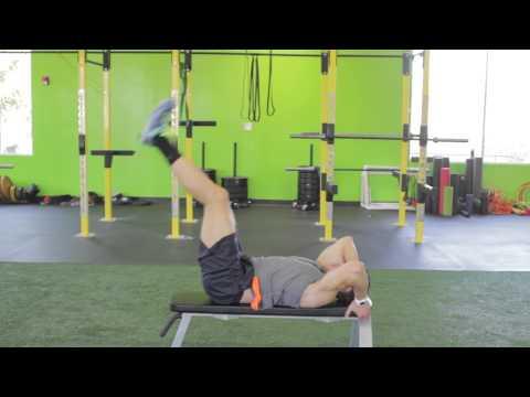 Lying Leg Raise With Hip Thrust (on Bench)