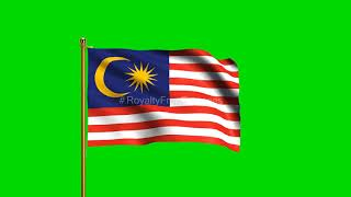 Malaysia National Flag | World Countries Flag Series | Green Screen Flag | Royalty Free Footages