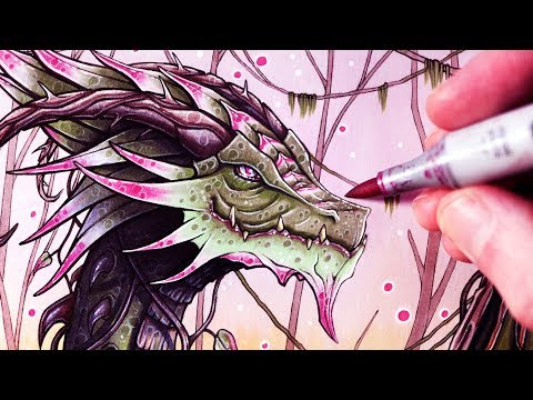 Let's Draw a JUNGLE DRAGON - FANTASY ART FRIDAY