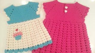 💟 فساتين اطفال كروشيه من مقاس بيبي 0 حتى 12-18 شهر بدون خياطة #2  Seamless Crochet baby dress💟