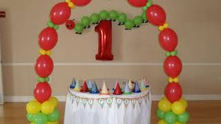 PARTY #68) Hungry Caterpillar Theme First Birthday Party Balloon Decorations