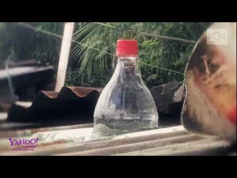 Plastic soda bottles become light source