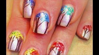 Easy Rainbow Tree Line Nails   Cute Fall Nail Art Design Tutorial