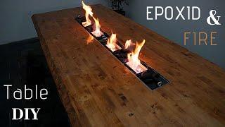 Epoxid Tisch selber bauen/Fire Epoxy Table DIY/Epoxid Ideen/ Esstisch/Gartentisch/Feuer Epoxid Tisch