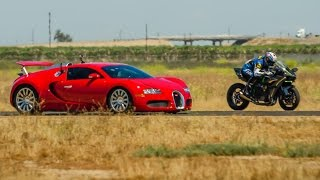 Kawasaki Ninja H2r vs Bugatti Veyron Drag Race Lamborghini Aventador vs F16 Fighting Falcon