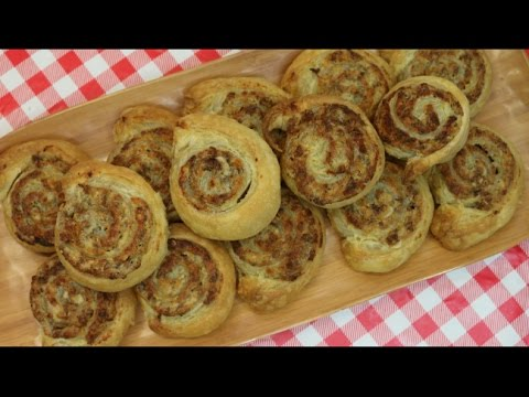 Puff Pastry & Sausage Pinwheels ~ Superbowl Appetizer Recipe ~ Noreen's Kitchen