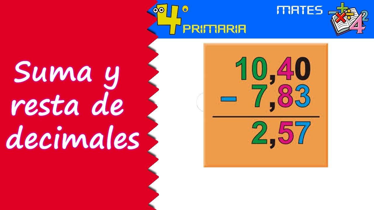 Matemáticas. 4º Primaria. Tema 7. Suma y resta de números decimales