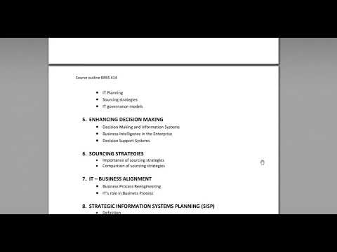 Course Outline for Information Technology Management