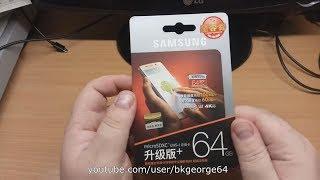 MicroSD карта из Китая SAMSUNG EVO PLUS UHS-1 U3 64 ГБ. Оригинал с gearbest.