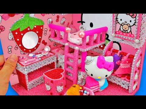 DIY Miniature Hello Kitty Dollhouse ~ Hello Kitty Room Decor ~ Miniature Girly Dollhouse Pink Room