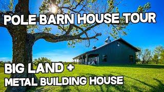 Pole Barn House Tour - Morton Metal Building Home And Cabin + Big Land 200 Ac, Log Cabin