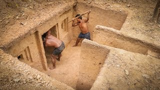 Dig to Build Most Awesome Secret Underground House by Talented Bushmen #Part1