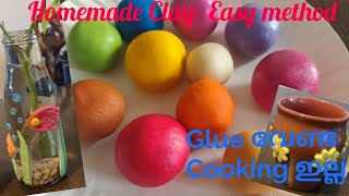 Homemade Air Dry Clay - No Glue, No Cooking Method/Malayalam Tutorial With English Subtitles