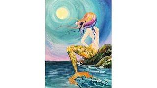 Learn To Paint Mermaid Cove Beginner Acrylic Tutorial Angelooney | TheArtSherpa
