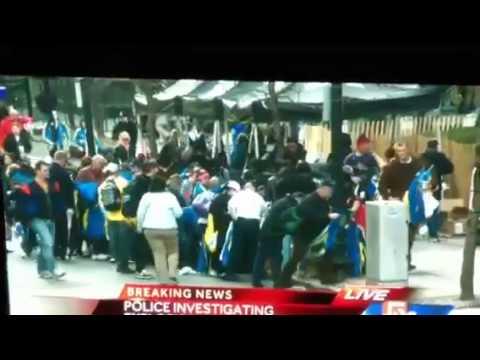 Мародёры в Бостоне, после взрывов, тащат призовые спортивные костюмы