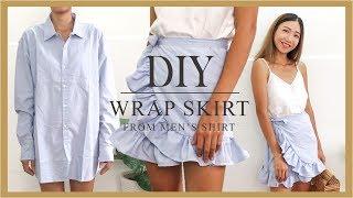 DIY Wrap Skirt - Refashion Mens Shirt Into Wrap Skirt - DIY Ruffle Skirt