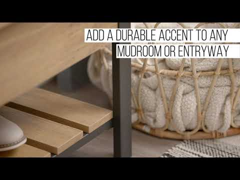 Video for 48-Inch Open-Top Storage Bench with Shoe Shelf - Barn wood