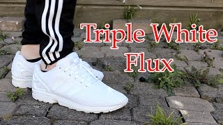 Adidas | Triple White ZX Flux | Close up & On feet with different bottoms!