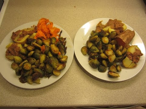 Roasted brussels sprouts marinated with no oil high carb vegan McDougall style