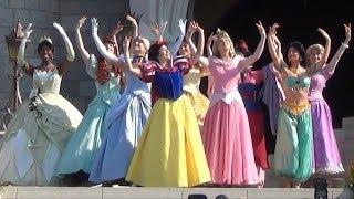 Merida Coronation At Disneys Magic Kingdom - All 11 Disney Princesses Together During Ceremony