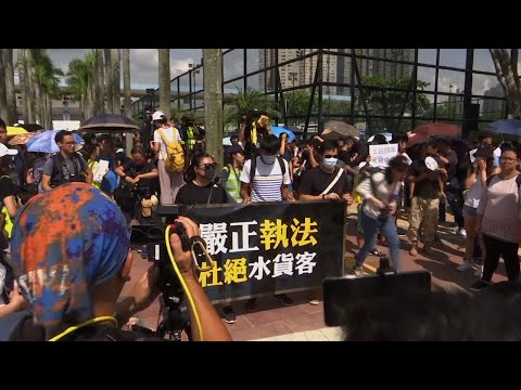 Several thousand people marched in Hong Kong against traders from mainland China on Saturday in what is fast becoming a summer of unrest in the semi-autonomous Chinese territory. (July 13)